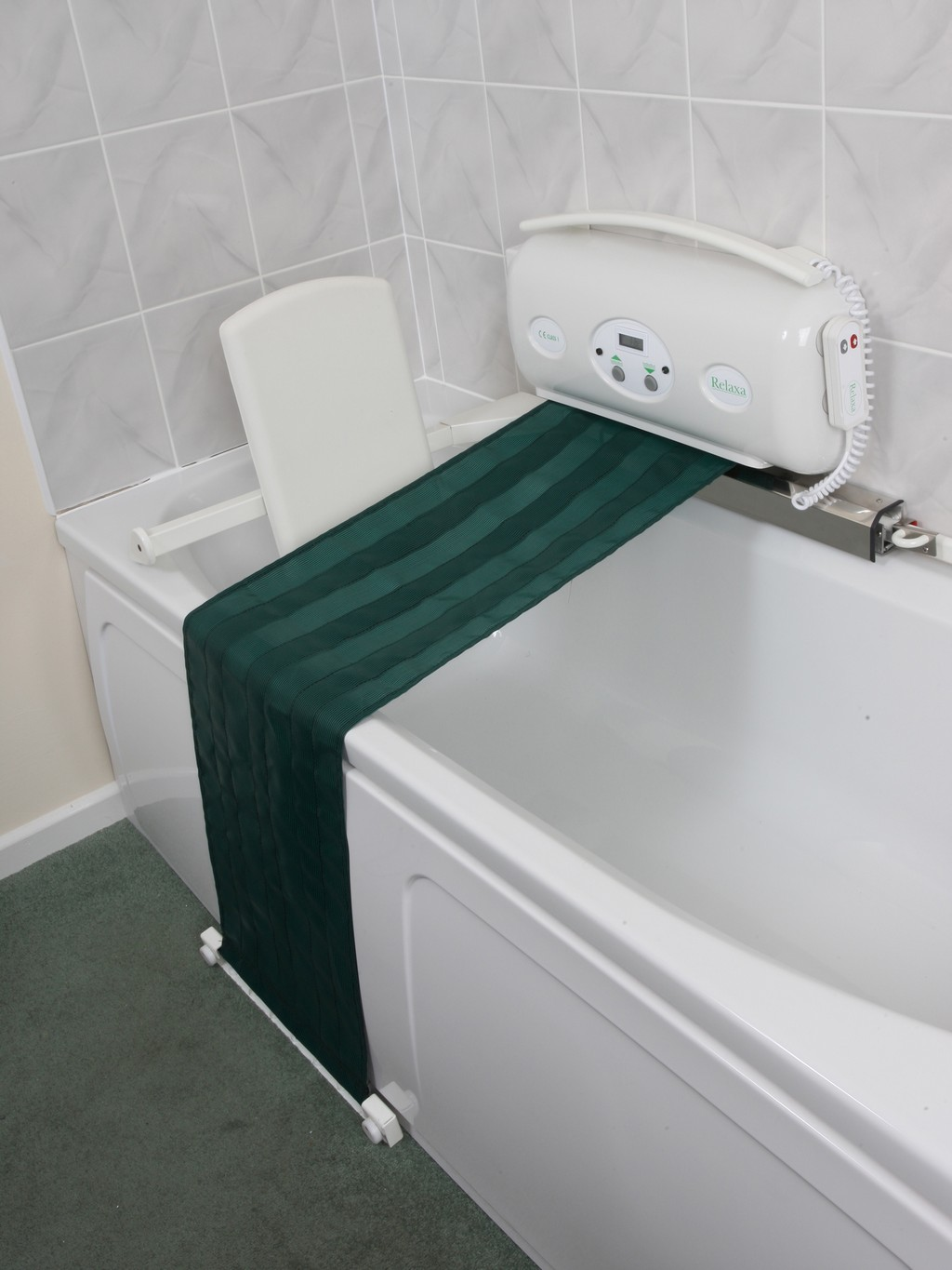 ameriglide bath lift, auqa bath lift, bath lifts for totally handicapped, unblocking lift and turn bath drain