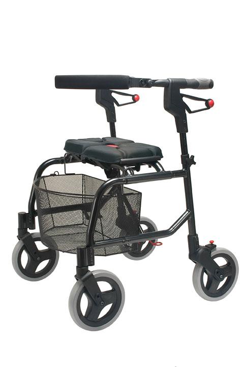 rollator rolling walker, freedom rollator, cosco rollators, deluxe aluminum rollator black