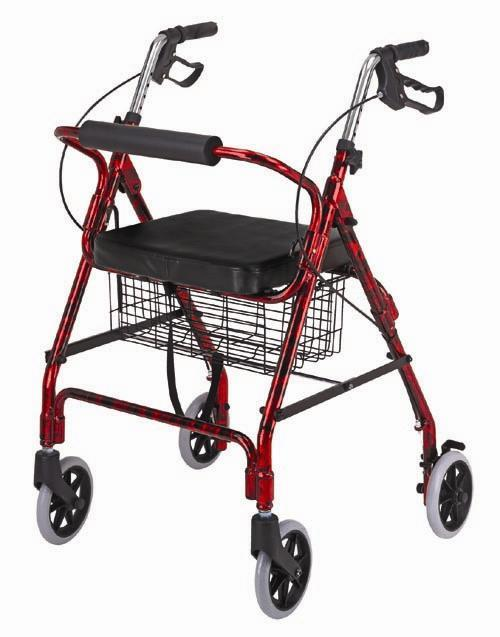 four wheel rollator with padded seat, rollator trays mugholders, carex rollator, dalton rollators